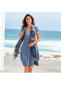 Seidencrash-Sommerkleid, 36 - Bleu, aus Seide